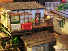 Hong Kong miniatures on display at Maritime Square | Rooftop terraces squatters were once a common sight in Hong Kong