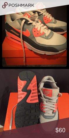Nike Air Max 90 Essential Running Size 8.5 Authentic Nike Air Max 90 Essential Running Size 8.5 Like new with Nike box. Color: Platinum/Dark and Pink Suede accents. Nike Shoes Sneakers