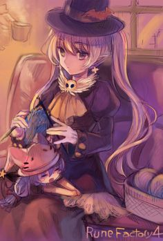 More Rune Factory 4...Dolce knitting with a teeny little Pico in her lap. <3