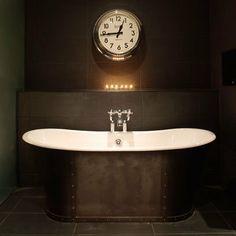 Bathroom Bath Clock Roll Top Tiles