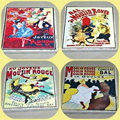 Moulin Rouge - Paris Caberet - Paris France - Red Mill - Can Can - Red Windmill - Dance Revue - Moulin Rouge Paris - Paris Decor - Coasters by STLCool on Etsy