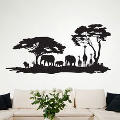 """Style and Apply African Savannah II Wall Decal Size: 22"""" H x 46"""" W, Color: Copper"""