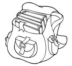 Ausmalbild Schule: Kostenlose Malvorlage: Schultasche mit Büchern kostenlos ausdrucken