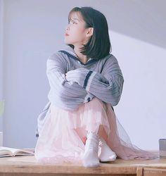 IU Kyungdong Pharmaceutical Gnal-N CF RolaRola sailor knit grey - won Rita Monica xoxo line earrings - won Iu Short Hair, Short Hair Styles, Iu Hair, Kpop Fashion, Korean Fashion, Korean Girl, Asian Girl, Kpop Mode, Korean Artist