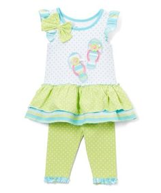 Another great find on #zulily! Green & White Sandal Tunic & Leggings - Infant & Girls #zulilyfinds