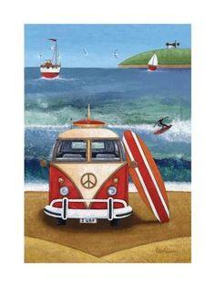 Art print volkswagon surfboard by peter adderley volkswagen Seaside Art, Beach Art, Art Plage, Bus Art, Posca Art, Vw Vintage, Surfboard Art, Am Meer, Naive Art