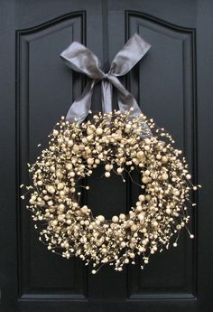 Year Round Wreaths - Silver and Champagne Berries Wreath for Your Wedding Celebration and More via Etsy