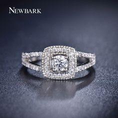 Find More Rings Information about NEWBARK Brand Luxury One Big Round CZ Diamond…