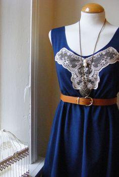 Jennifer Lilly Handmade Beautiful Navy Blue Lace BoHo Cotton Jersey Dress