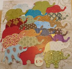 Die Cut Elephant / Elephants made from DCWV Taj Mahal Prints Cardstock for crafts scrapbooking India colors