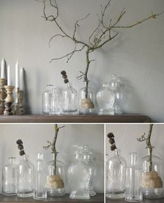 decoration with old drugstore-bottles and elder by Die Raumfee