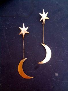 Moonbaby Hand Cut Brass Earrings. $40.00, via Etsy.