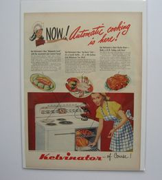vintage advertisement Kelvinator automatic range oven stove. 1948 happy housewife ad great kitschy vibe. full page full color ready to frame by PickleladyVintage on Etsy