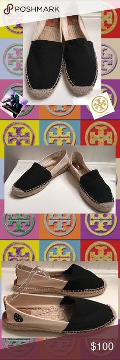 Tory Burch Black & White Canvas Epadrilles Size 9 Tory Burch Black & White Canvas Epadrilles Size 9. Purchased Last Summer. These are marked a Size 9. They are Will Fit a Size 8 1/2 better! Pre-Loved. Priced accordingly. Leather, Canvas & rope?🚫trades. Please ask all questions questions prior to buying Tory Burch Shoes Espadrilles