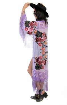 Lilac Floral Velvet Burnout Gypsy Beaded Fringe by saltwatergypsy, $255.00