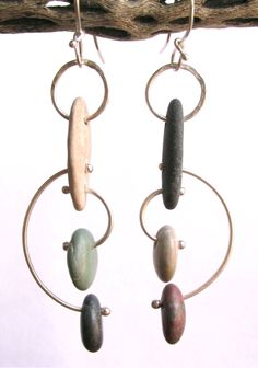 Modernist Style - Kinetic - Beach Stone - Sterling Silver Earrings www.rmddesigns.com