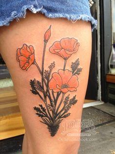 traditional black and grey realism freehand california poppy poppies Poppy Tattoo Sleeve, Sleeve Tattoos, Time Tattoos, Body Art Tattoos, Bat Tattoos, Ankle Tattoos, Dream Tattoos, California Poppy Tattoo, California Tattoos