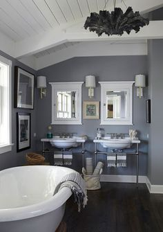 Paint color, Manor House gray by Farrow and Ball- # 265. Im not a big fan of the vintage bathroom look, but I love the double basins!