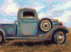 Daily Painting, Old Pick Up Truck Pastel Painting by Nancy Poucher, painting by artist Nancy Poucher Painting & Drawing, Art Painting Gallery, Pastel Drawing, Pastel Art, Car Painting, Painting For Kids, Tole Painting, Autumn Painting, Fall Paintings