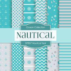 Nautical Teal Digital Paper DP857 - Digital Paper Shop - 1