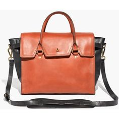 MADEWELL The Dalloway Tote ($268) ❤ liked on Polyvore featuring bags, handbags, tote bags, english saddle, red leather tote, red leather handbag, madewell tote, duffle bag and leather duffel bag