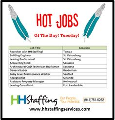 Hi there, #jobseekers! How was your Tuesday? We hope it went well. How is your #jobsearch going? Are you getting frustrated? Partner with us and we can help get you to #work ASAP. Birds of a feather flock together, as they say. :) Applications to be submitted via our website at www.hhstaffingservices.com. If you have any questions regarding our #staffingservices, please give us a call at (941)751-6262. We hope to hear from you soon!