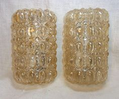 Pair 60's Bubble Glass Wall Lamp Sconces Lamps Mid Century #O/J