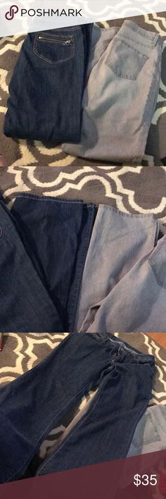 Pants bundle Both size 8. One is a pair of Michael Kors pants normal blue jeans no holes and a bootcut/flare style jeans. I has zipper back pockets. Other is a pair of Gloria Vanderbilt. Grey and white stripes no holes or anything on this pair either. More of a straight or bootcut style on these. Michael Kors Pants Boot Cut & Flare