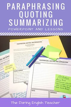 Teach your high school and middle school students how to properly paraphrase, quote, and summarize with this editable PowerPoint lesson and accompanying materials. Secondary ELA. Writing