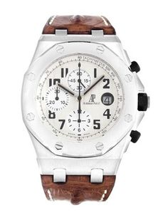 Audemars Piguet Royal Oak Offshore...  I like the contrast from the cream, Arabic dial and brown leather strap.