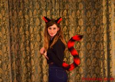 f537289b3 Luxury Long Black and Red Stripy Cat Perky Tail and Ears Set! Clips Striped  Racoon Big Long Fursuit Cosplay Tiger Custom Kitty Stick Up Out
