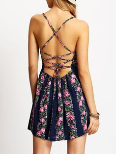 Vestido sin espalda flores-(Sheinside)