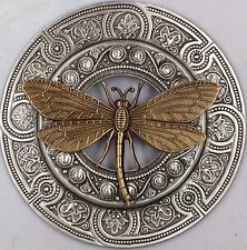 "HUGE 3""INCH  Sterling Silver Overlay On Stamped Brass""TWO TONE DRAGONFLY BUTTON"""