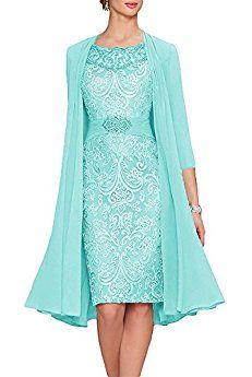 Neggcy Women's A-line Short Party Dress Chiffon Lace Mother of The Bride Dress with Jacket