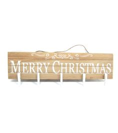 Holiday Cheer Wood Merry Christmas Card Holder With Cl