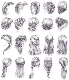 Another 15 Bridal Hairstyles & Wedding Updos Braids. Pencil Art Drawings, Art Drawings Sketches, Hair Drawings, Drawing Art, Drawing Ideas, Girl Hair Drawing, Hair Styles Drawing, Hair Sketch, Pretty Drawings