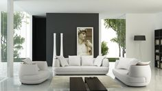 106 Living Room Set in White Leather Finish By VIG Furniture