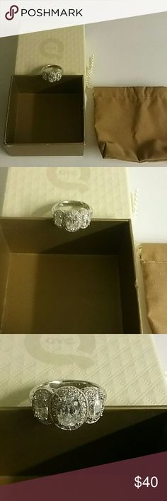 QVC Diaminque Sterling Silver Ring Unused condition with bag and box. QVC Jewelry Rings