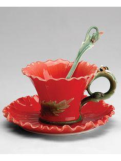 "Чайная пара ""Маки"", Pavone на Маркете VSE42.RU Tea Party, Tea Cups, Tableware, Dinnerware, Tablewares, Tea Parties, Dishes, Place Settings, Cup Of Tea"