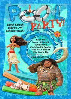 Disney Moana Invitation, Maui Swimming Pool Party, Moana Birthday Invite