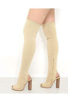 Womens Gold Shimmer Peep Toe Over-the-knee Boots Block High Heel UK 3 4 5 6 7 High Heels Uk, Over The Knee Boots, Peeps, Peep Toe, Gold, Stuff To Buy, Shoes, Women, Fashion