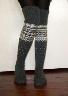 Long Above the knee Handknitted Grey Winter Socks