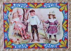 Antique Trunk Picture, Victorian Children