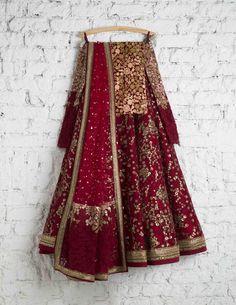 SwatiManish Lehengas | SMF LEH 108 17 | Regal maroon lehenga with full sleeved blouse