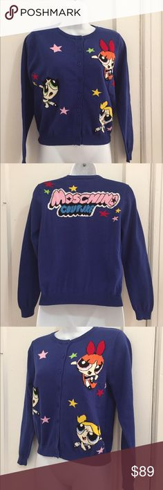 "Moschino Cardigan with Embroidery Sz S Blue New without tags ( a Christmas gift for my daughter ) Moschino Couture Cardigan, Sz S ( 4 -6) ""Power Puff Girls"".  Not long, sits on the waist. Cotton blend. Great for a young girl. Shoulder to shoulder- 14.5"", armpit to armpit- 18"", sleeve length- 22"".  Main color - bright blue. Can go down on the price up to $20.00 Moschino Tops Sweatshirts & Hoodies"
