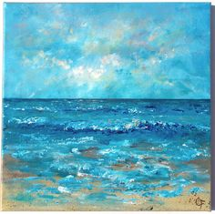 Beach painting, ocean painting. 12x12 square original painting, impressionist blue waves