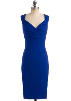 Lady Love Song Dress in Sapphire - Variation, Blue, Solid, Cocktail, Minimal, Sheath / Shift, Sleeveless, Long, Ruching, Wedding, Party, Pinup, Vintage Inspired, 40s, 50s