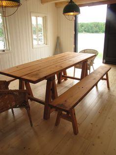 Table with view of the sea. Picnic Table, Rustic, Sea, Furniture, Home Decor, Country Primitive, Decoration Home, Room Decor, Retro