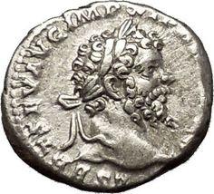 SEPTIMIUS SEVERUS Rare Silver Ancient Roman Coin Victory over Parthians i53206