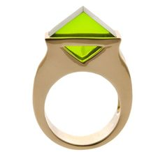 Acne Gold Triangle Stone Ring